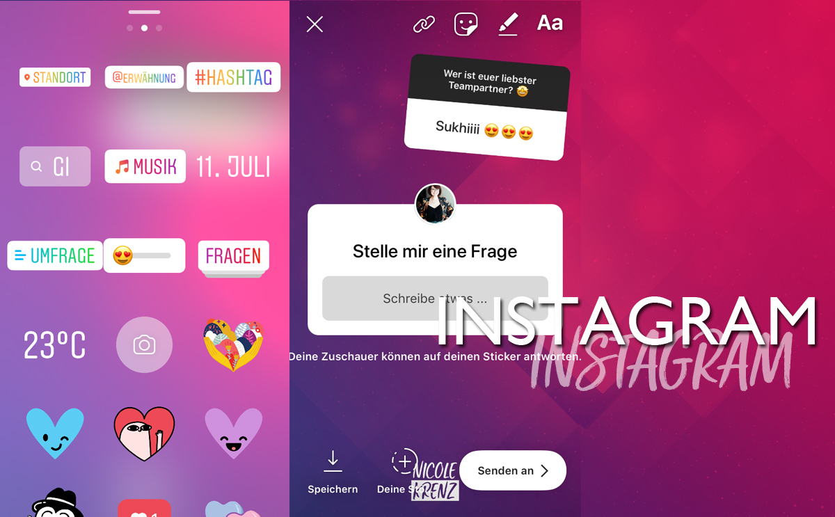 Instagram Funktionen für Instagram Stories